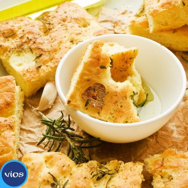 Focaccia con impasto di yogurt greco Vios